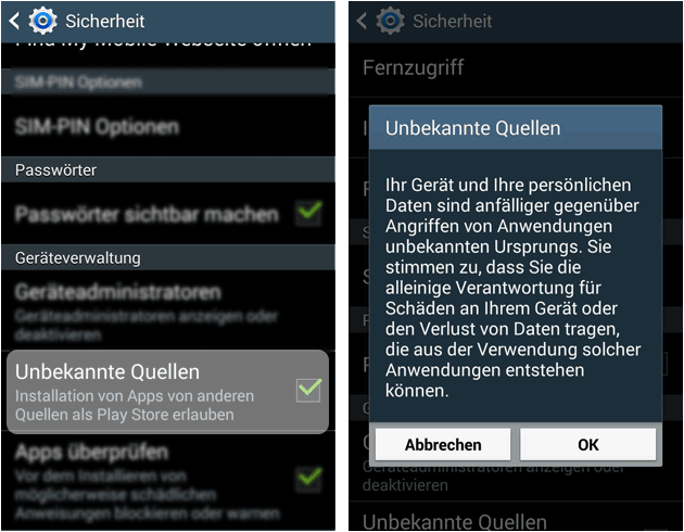 Unbekannte Herkunft Apps bei Android installieren