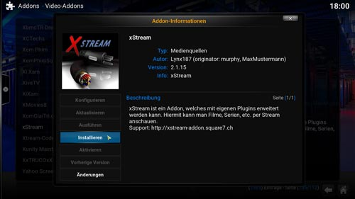 installation von xstream mit kodi und superrepo